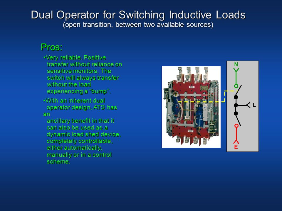 Dual Operator for Switching Inductive Loads (open transition, between two available sources)