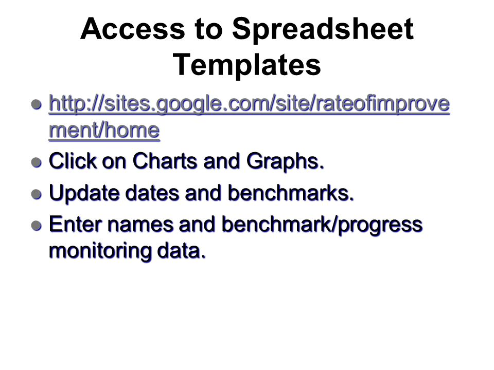 Access to Spreadsheet Templates