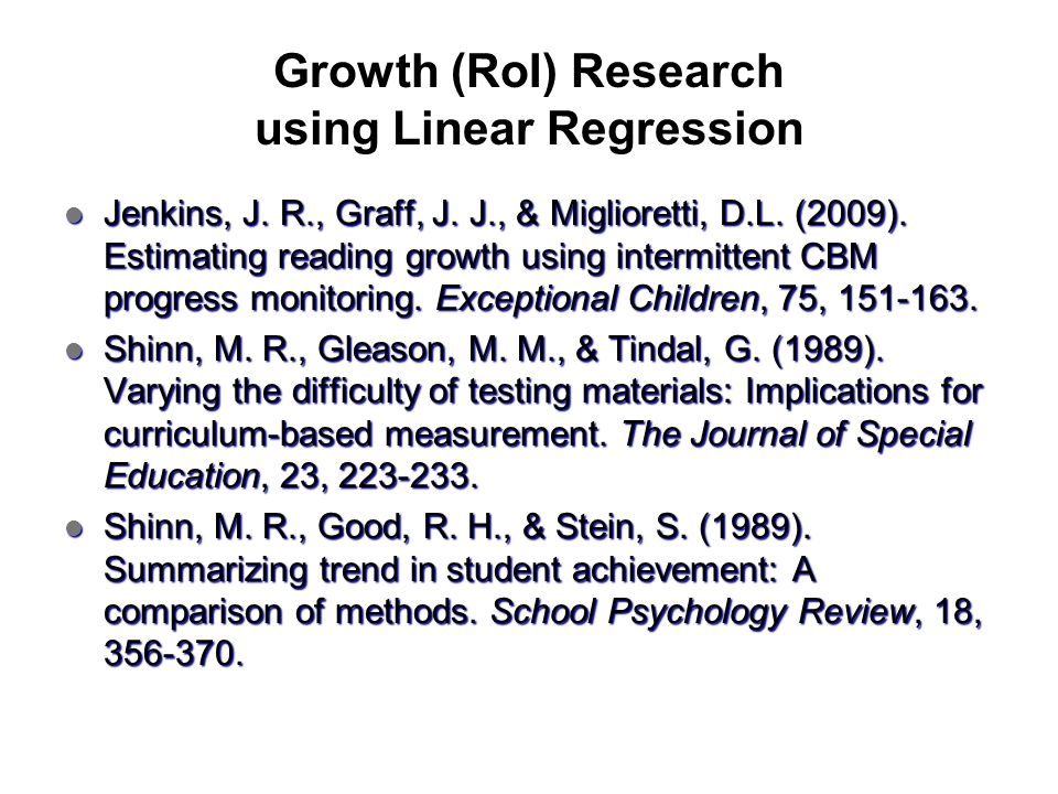 Growth (RoI) Research using Linear Regression