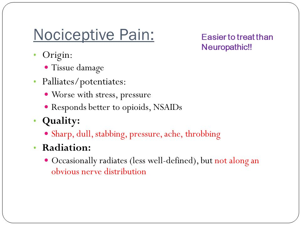 Nociceptive Pain: Origin: Palliates/potentiates: Quality: Radiation: