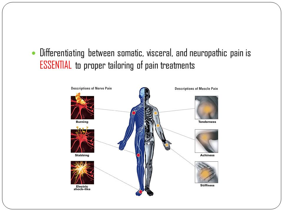 Differentiating between somatic, visceral, and neuropathic pain is ESSENTIAL to proper tailoring of pain treatments