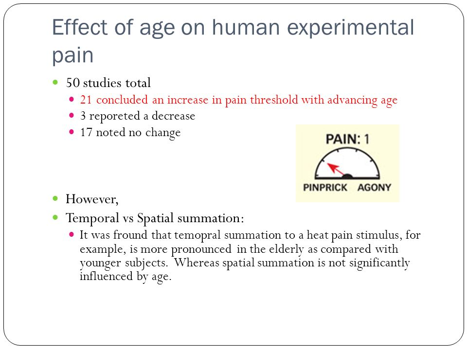 Effect of age on human experimental pain