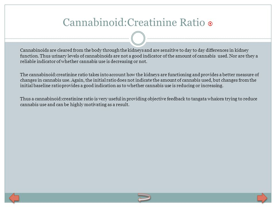 Cannabinoid:Creatinine Ratio 