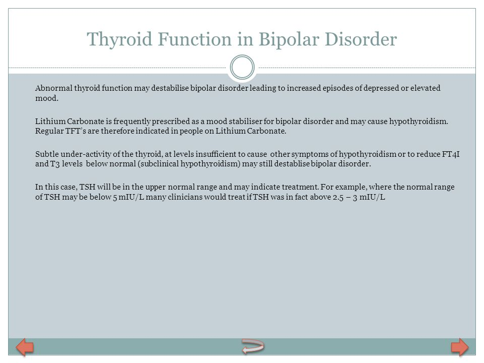 Thyroid Function in Bipolar Disorder