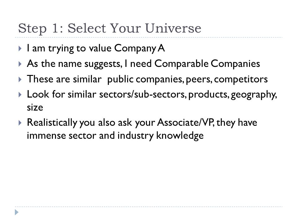 Step 1: Select Your Universe