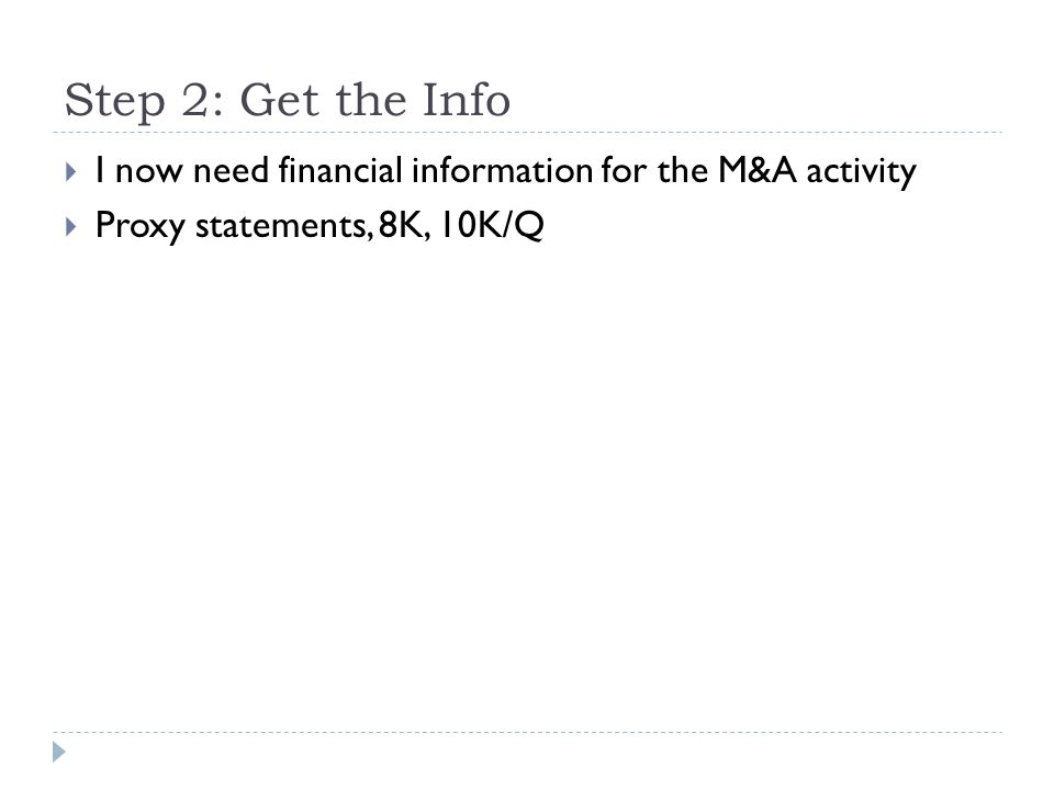 Step 2: Get the Info I now need financial information for the M&A activity.
