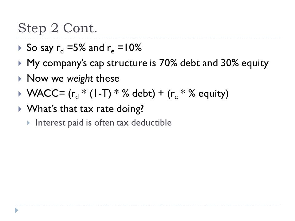 Step 2 Cont. So say rd =5% and re =10%