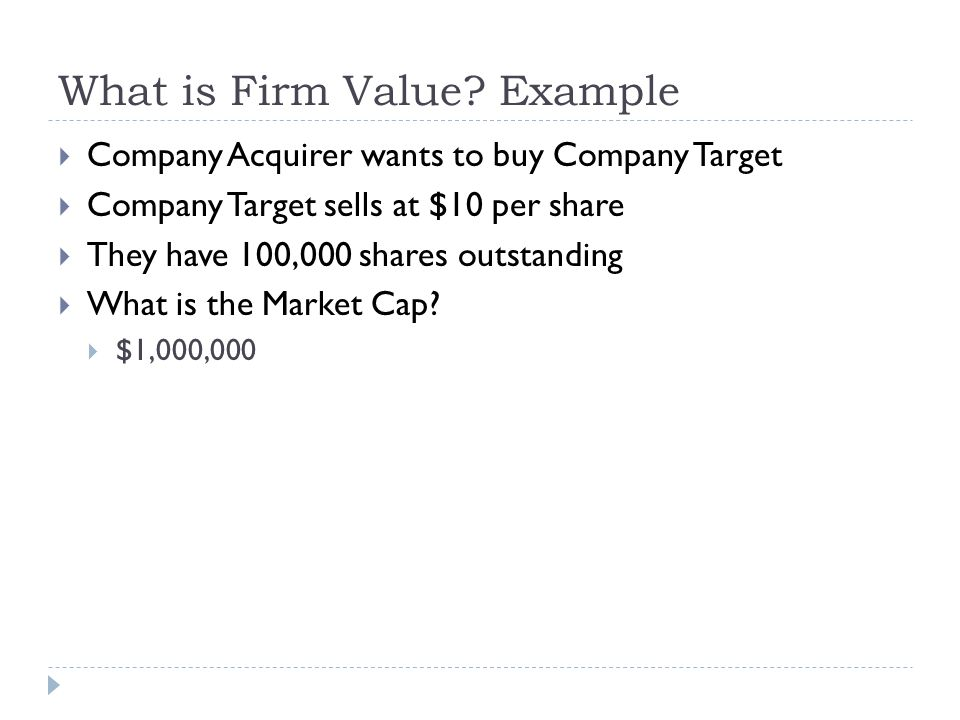 What is Firm Value Example