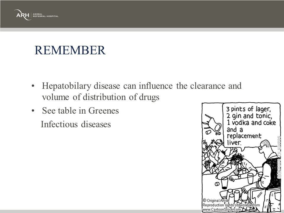 REMEMBER Hepatobilary disease can influence the clearance and volume of distribution of drugs. See table in Greenes.