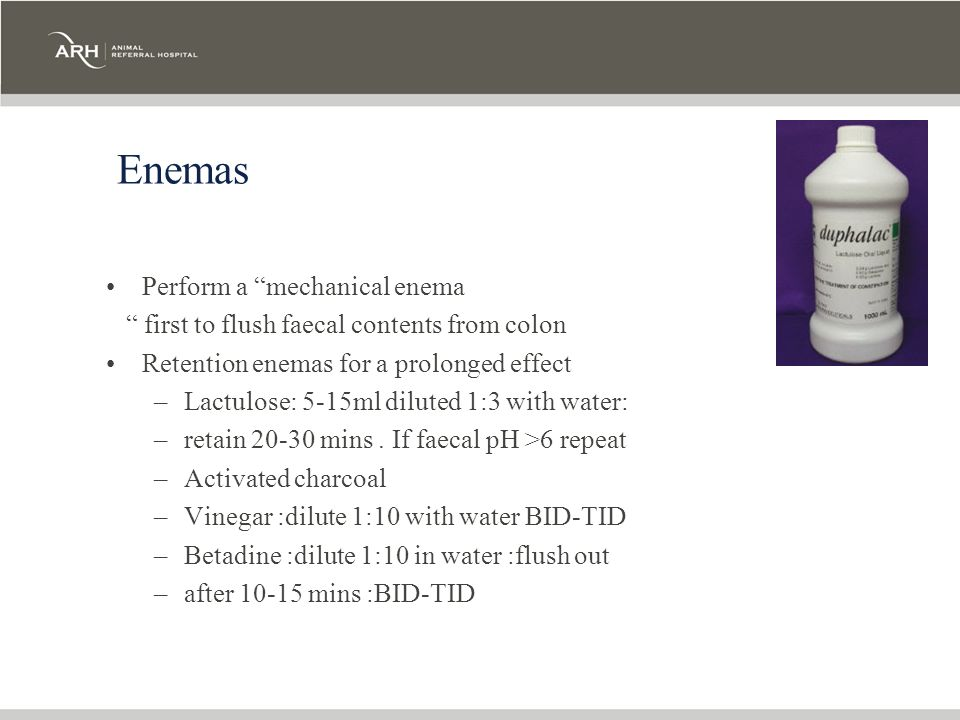 Enemas Perform a mechanical enema