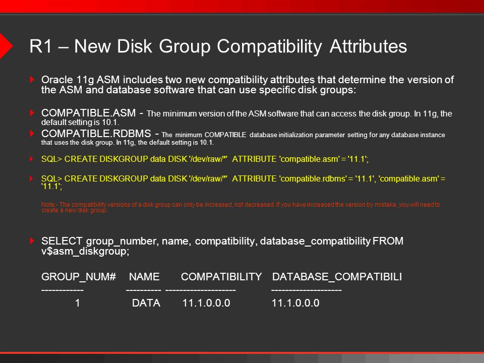 R1 – New Disk Group Compatibility Attributes