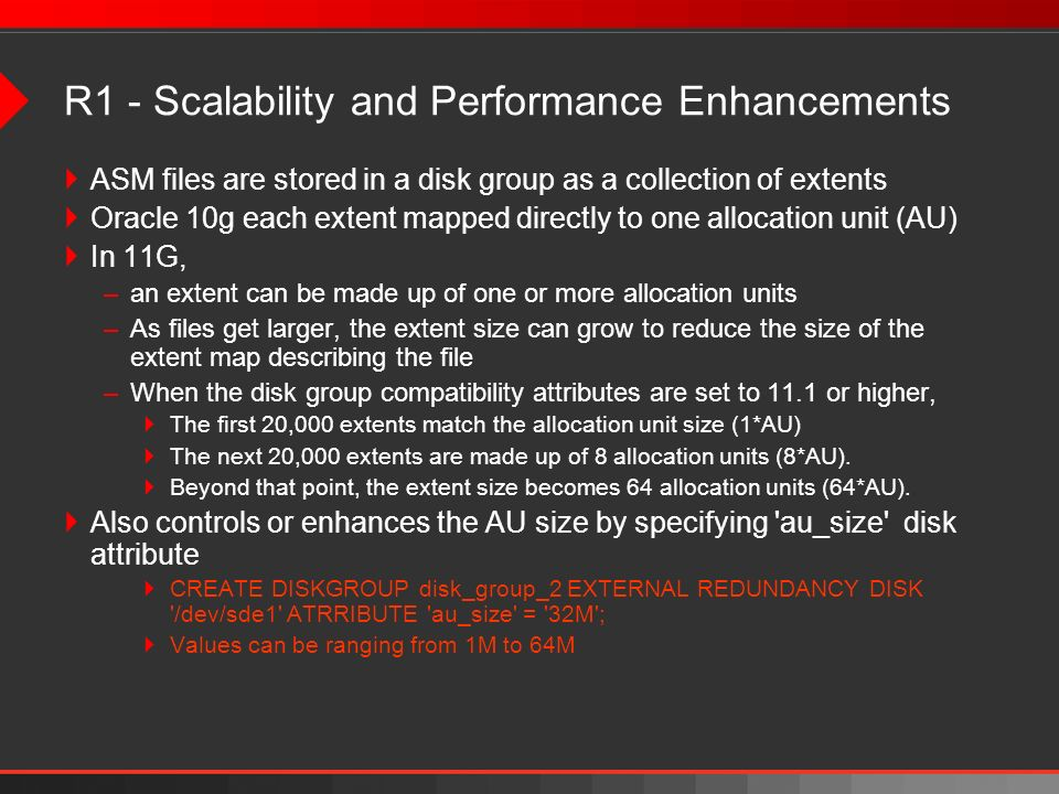 R1 - Scalability and Performance Enhancements