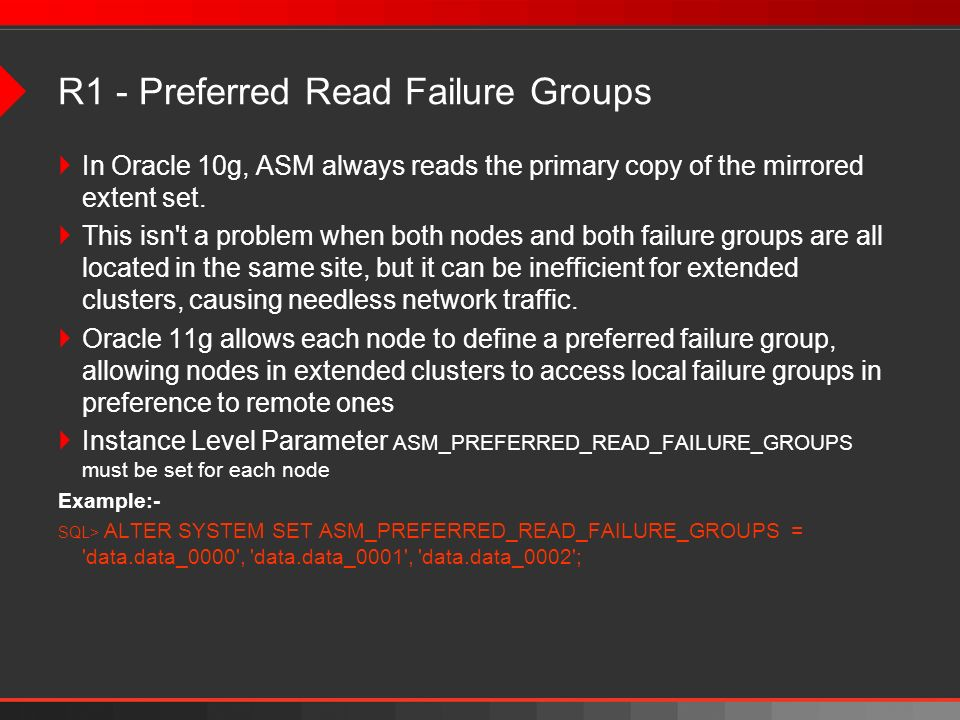 R1 - Preferred Read Failure Groups