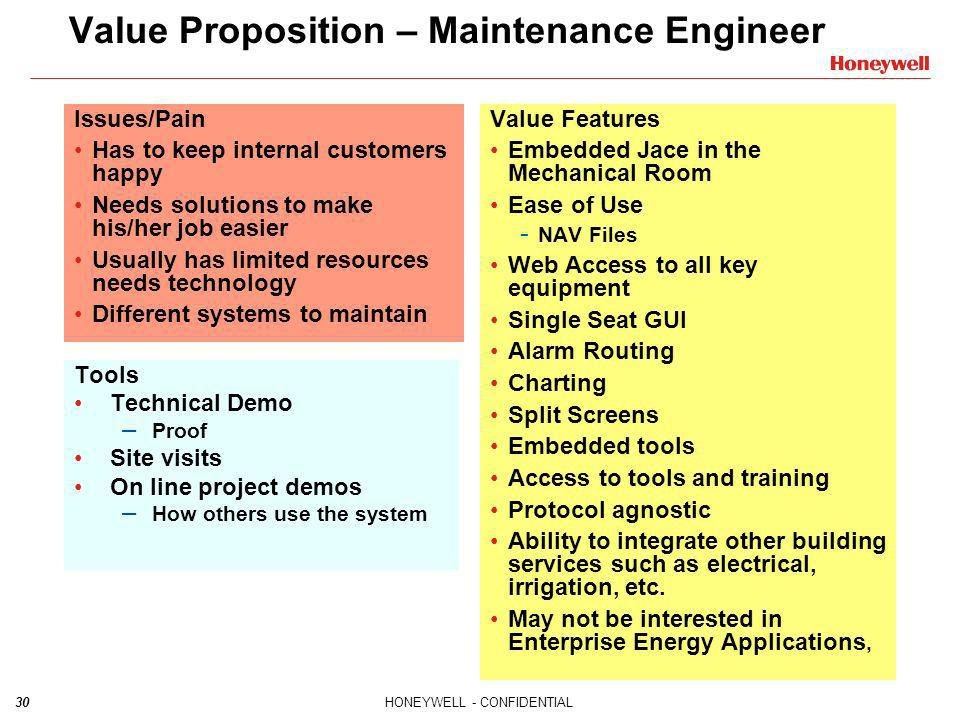 Value Proposition – Maintenance Engineer