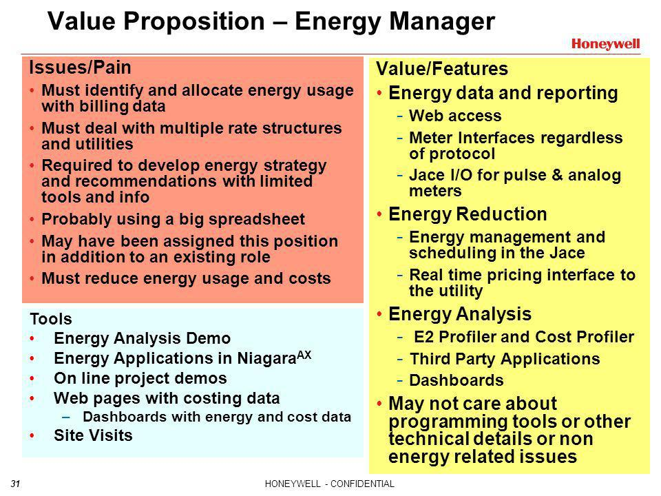 Value Proposition – Energy Manager