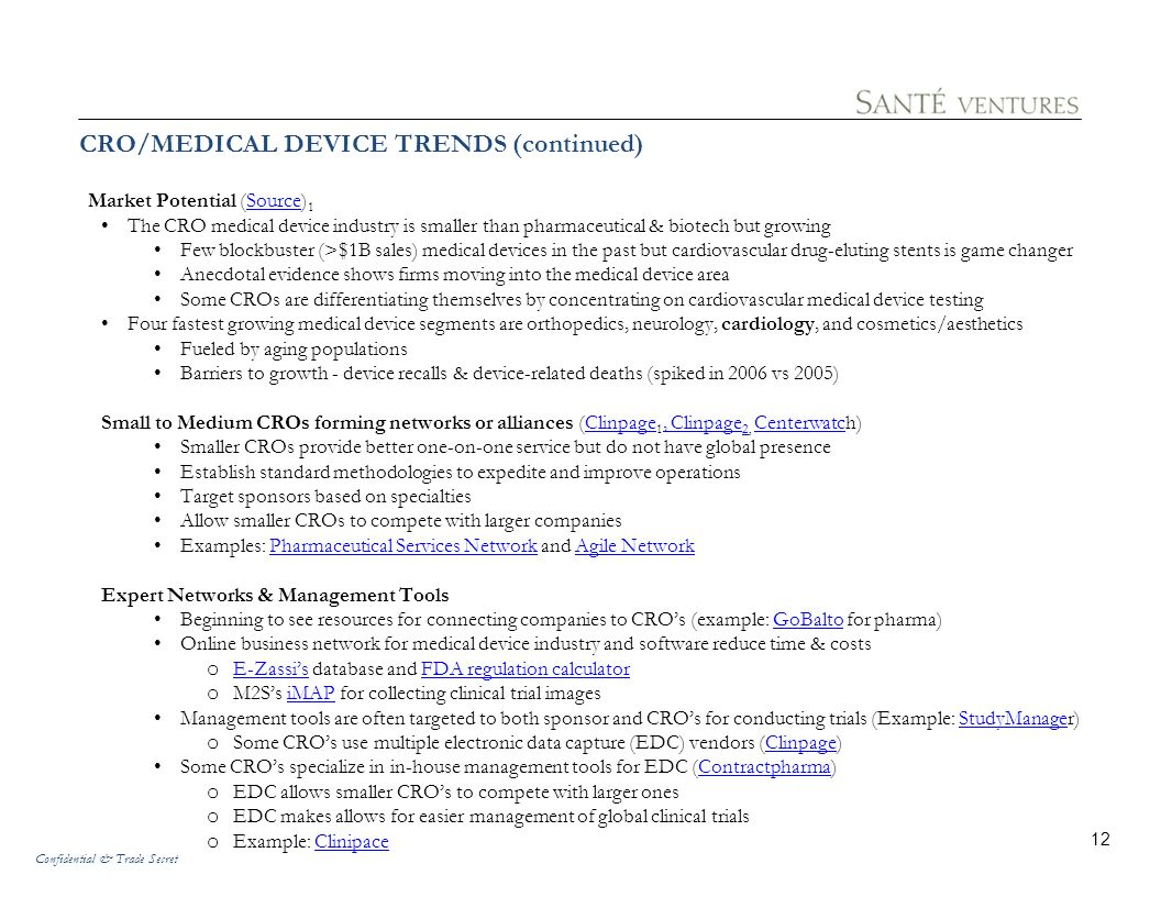 CRO/MEDICAL DEVICE TRENDS (continued)