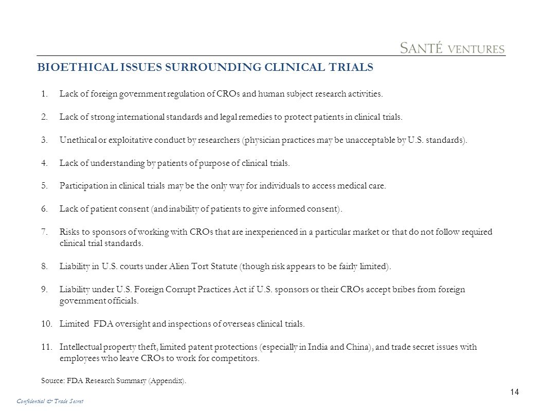 BIOETHICAL ISSUES SURROUNDING CLINICAL TRIALS