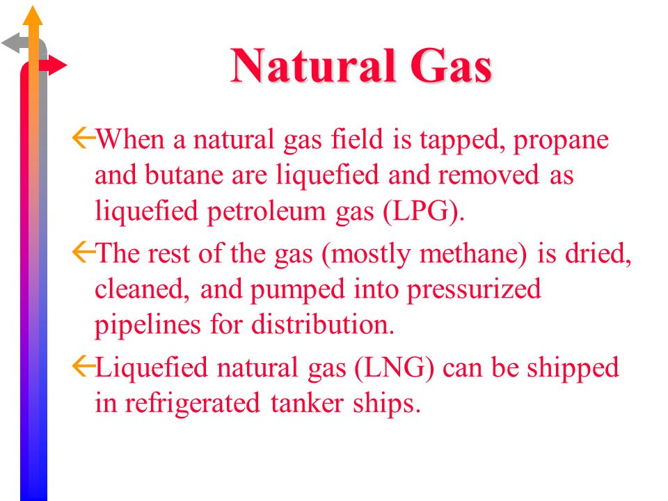Natural Gas When a natural gas field is tapped, propane and butane are liquefied and removed as liquefied petroleum gas (LPG).