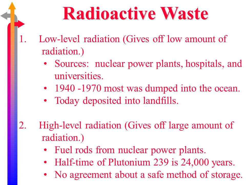 Radioactive Waste Low-level radiation (Gives off low amount of