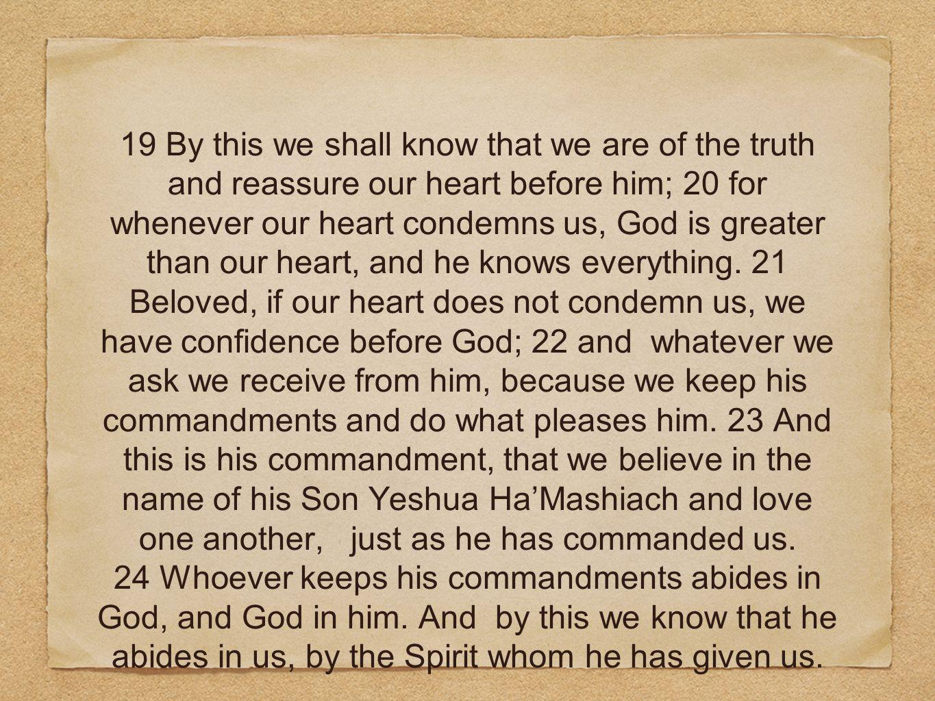 19 By this we shall know that we are of the truth and reassure our heart before him; 20 for whenever our heart condemns us, God is greater than our heart, and he knows everything.