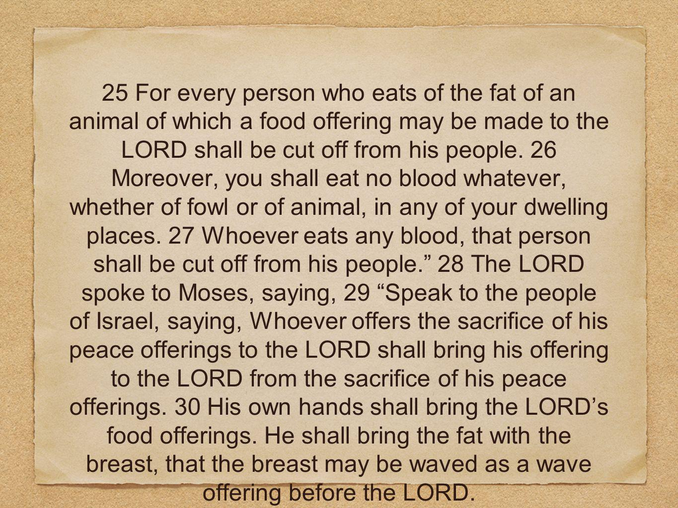 25 For every person who eats of the fat of an animal of which a food offering may be made to the LORD shall be cut off from his people.