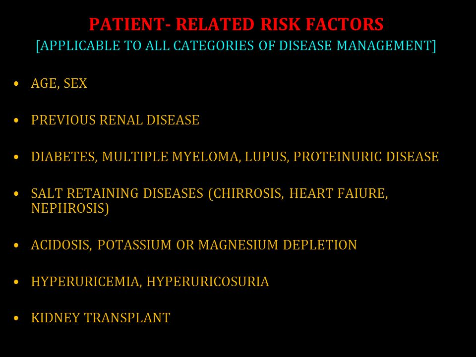 PATIENT- RELATED RISK FACTORS