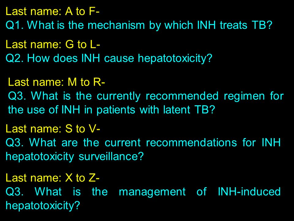 Last name: A to F- Q1. What is the mechanism by which INH treats TB Last name: G to L- Q2. How does INH cause hepatotoxicity