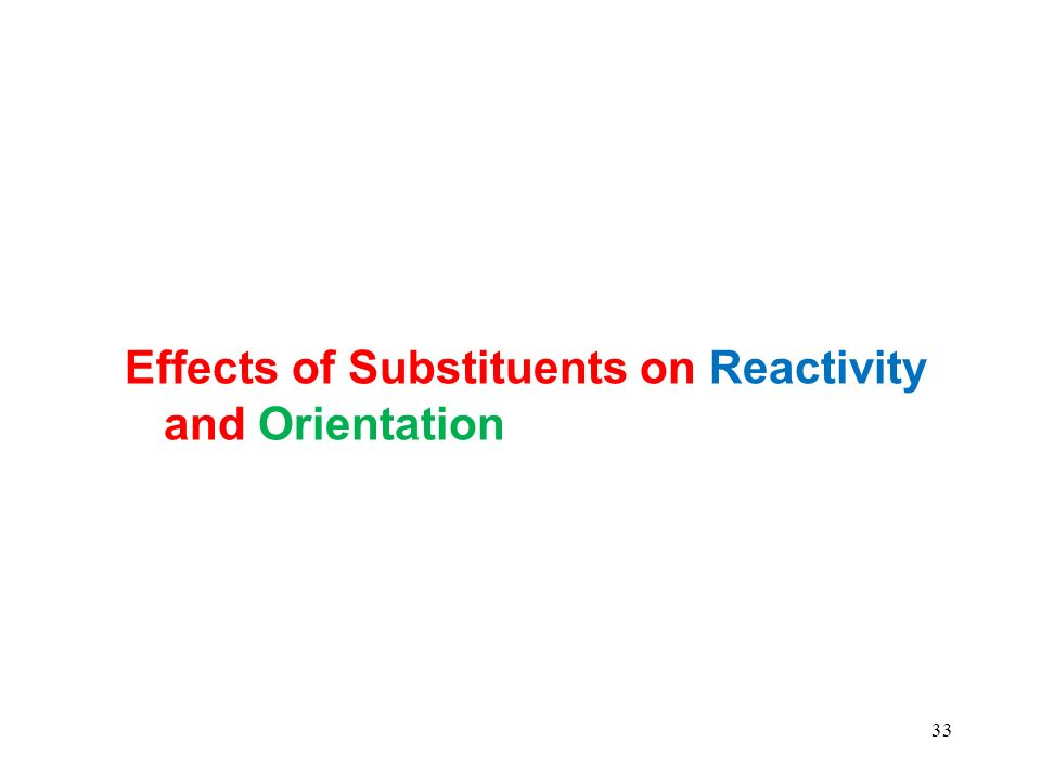 Effects of Substituents on Reactivity and Orientation