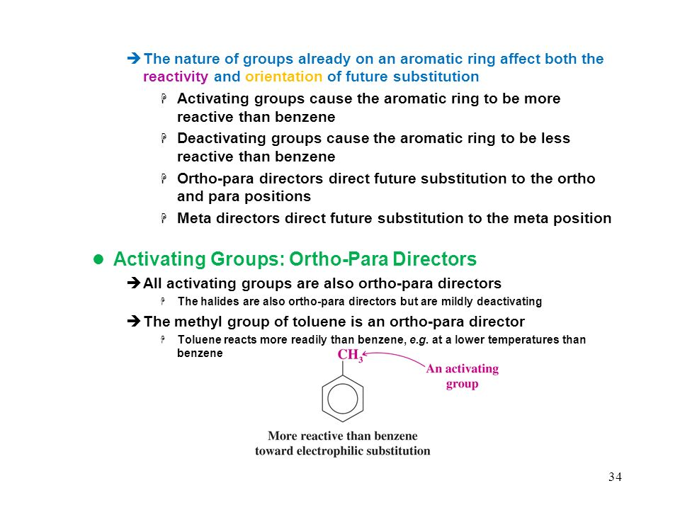 Activating Groups: Ortho-Para Directors