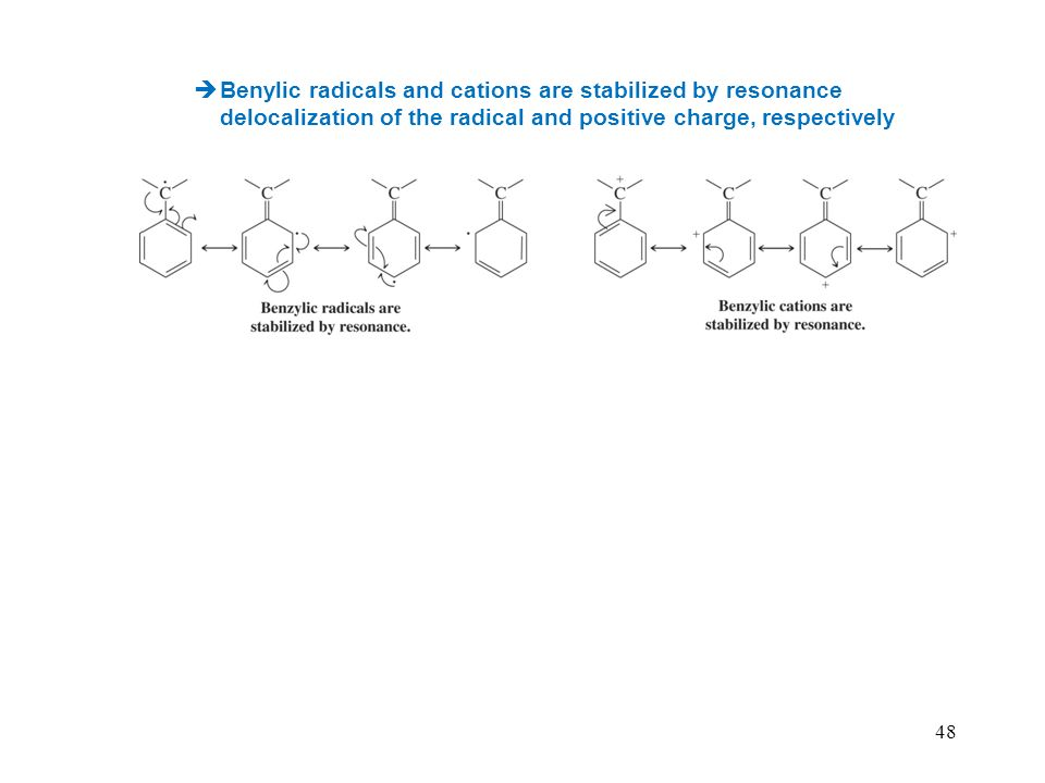 Benylic radicals and cations are stabilized by resonance delocalization of the radical and positive charge, respectively