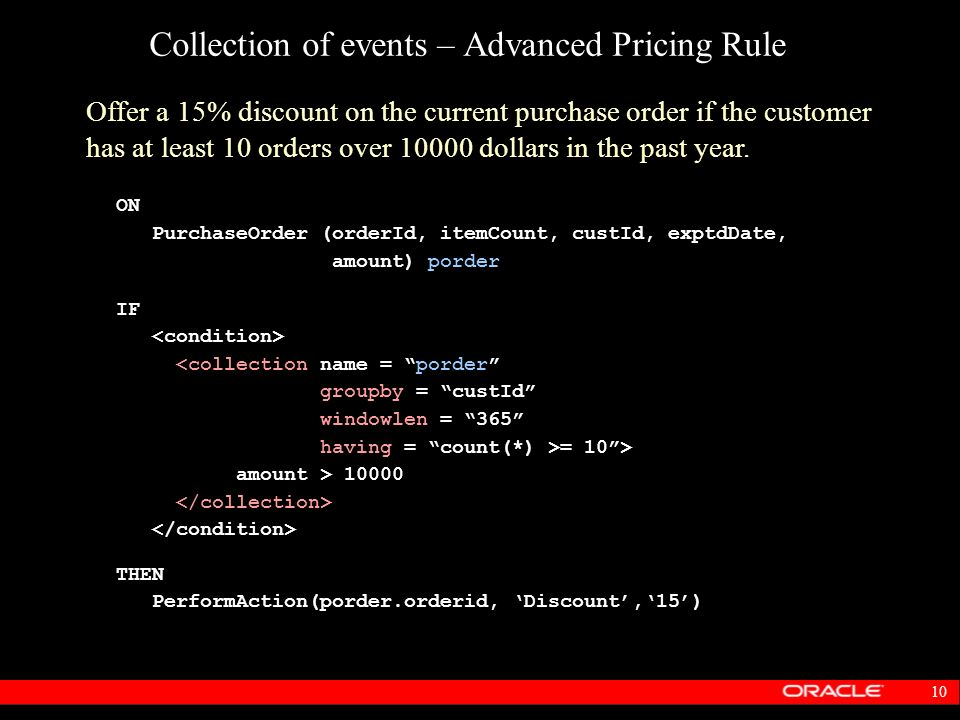 Collection of events – Advanced Pricing Rule