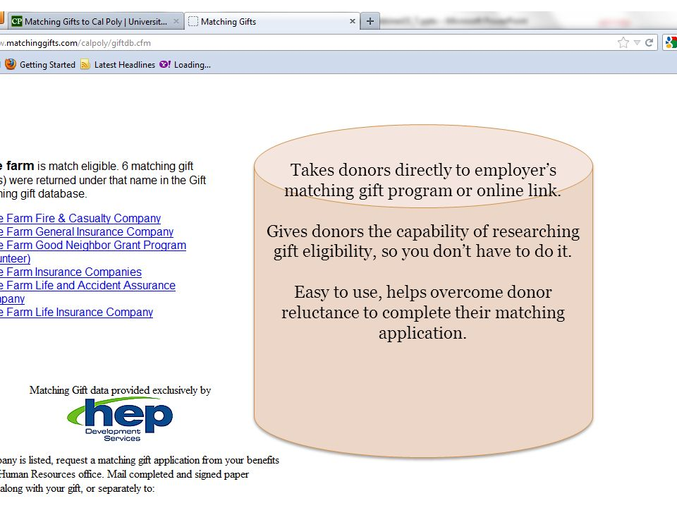 Takes donors directly to employer's matching gift program or online link.