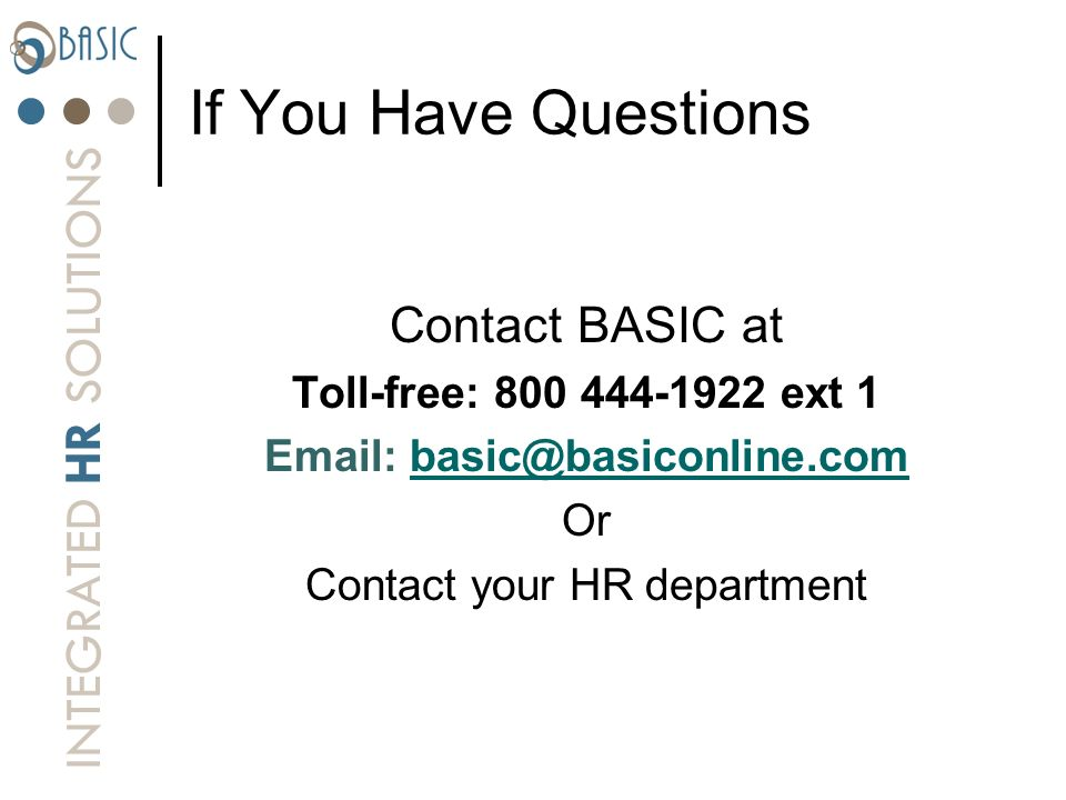 Contact your HR department