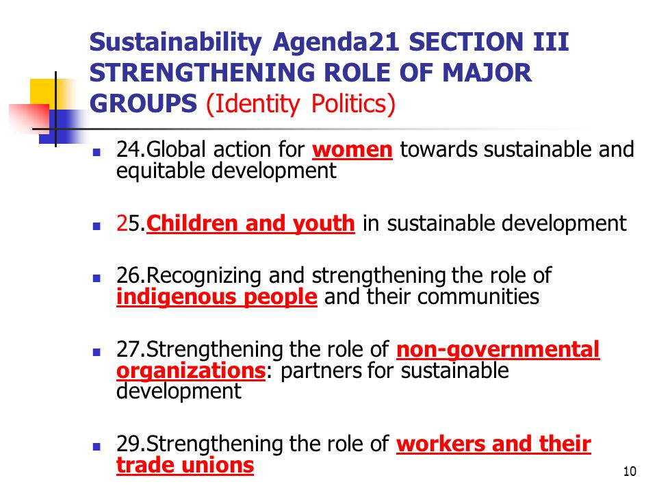 Sustainability Agenda21 SECTION III STRENGTHENING ROLE OF MAJOR GROUPS (Identity Politics)