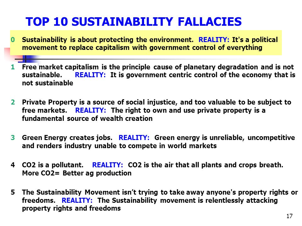 TOP 10 SUSTAINABILITY FALLACIES