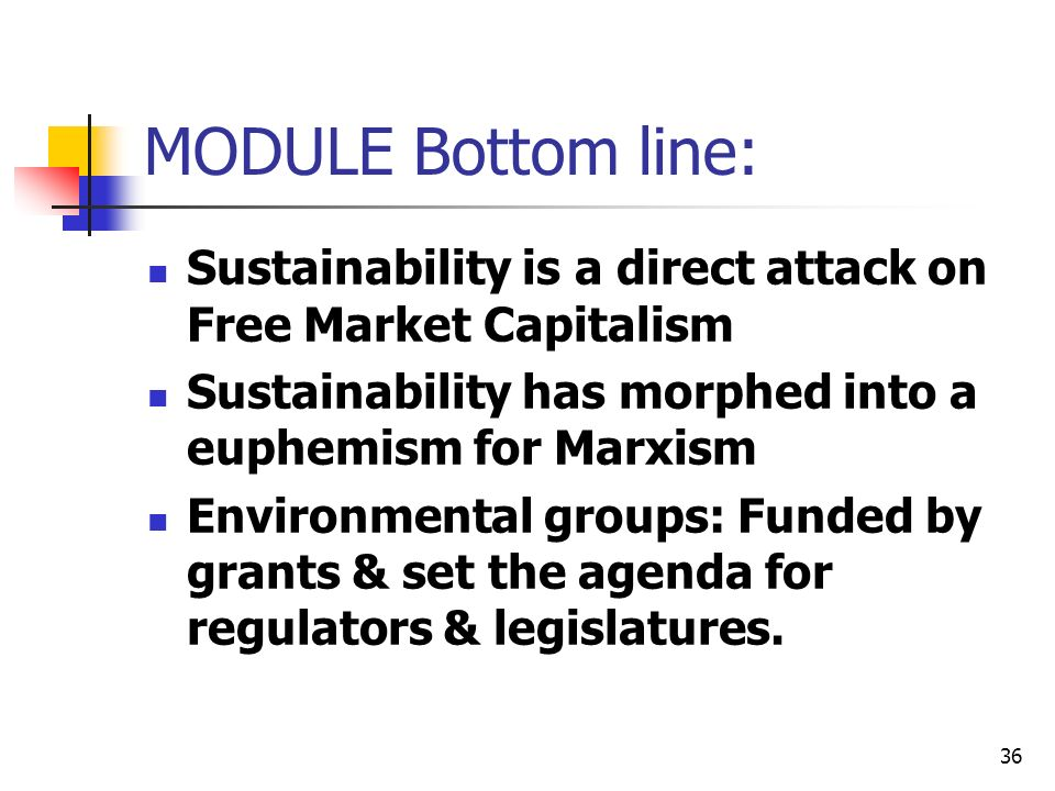 MODULE Bottom line: Sustainability is a direct attack on Free Market Capitalism. Sustainability has morphed into a euphemism for Marxism.