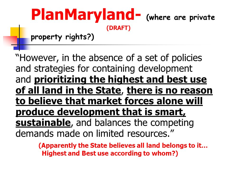 PlanMaryland- (where are private (DRAFT) property rights )