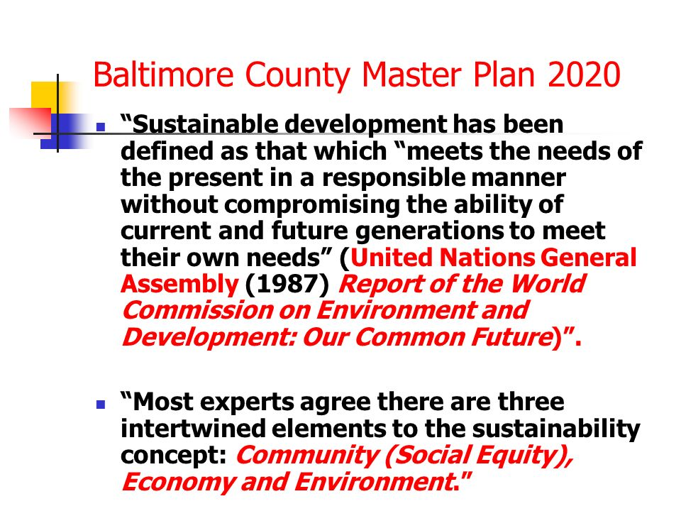 Baltimore County Master Plan 2020