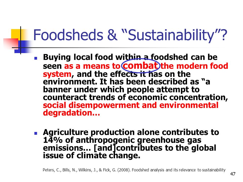 Foodsheds & Sustainability