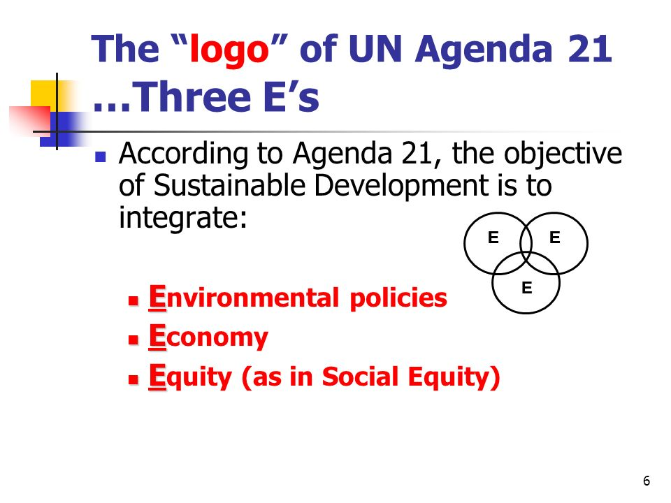 The logo of UN Agenda 21 …Three E's