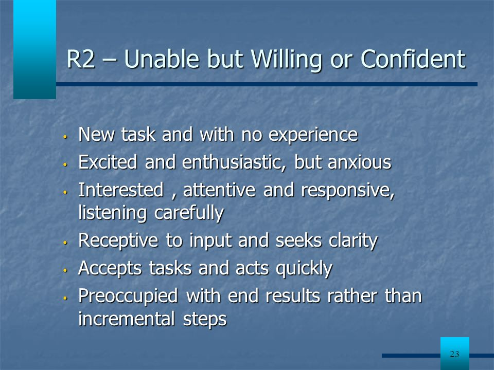 R2 – Unable but Willing or Confident