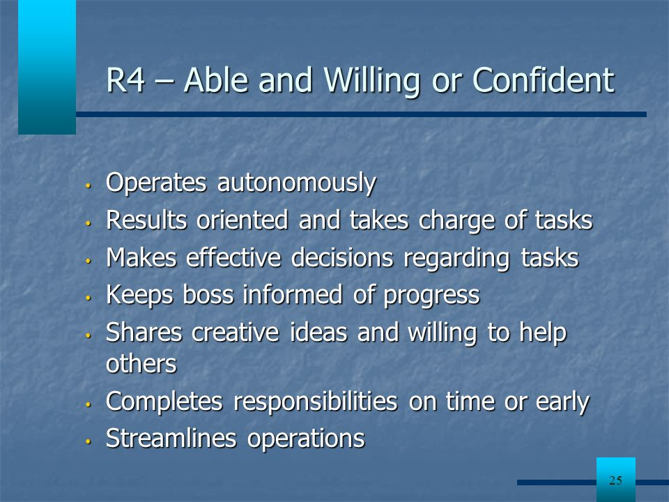 R4 – Able and Willing or Confident