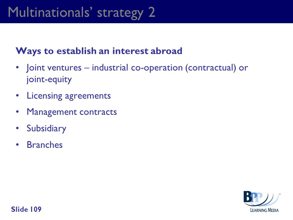 Multinationals' strategy 2