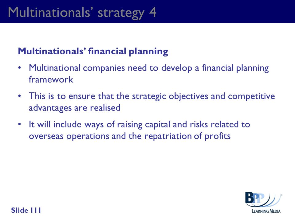 Multinationals' strategy 4