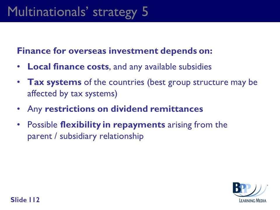 Multinationals' strategy 5