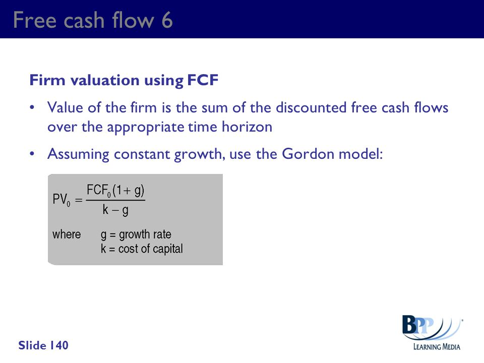 Free cash flow 6 Firm valuation using FCF