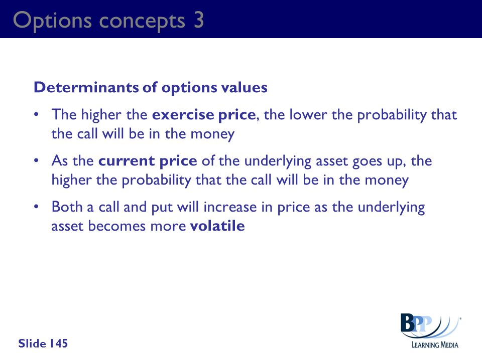 Options concepts 3 Determinants of options values