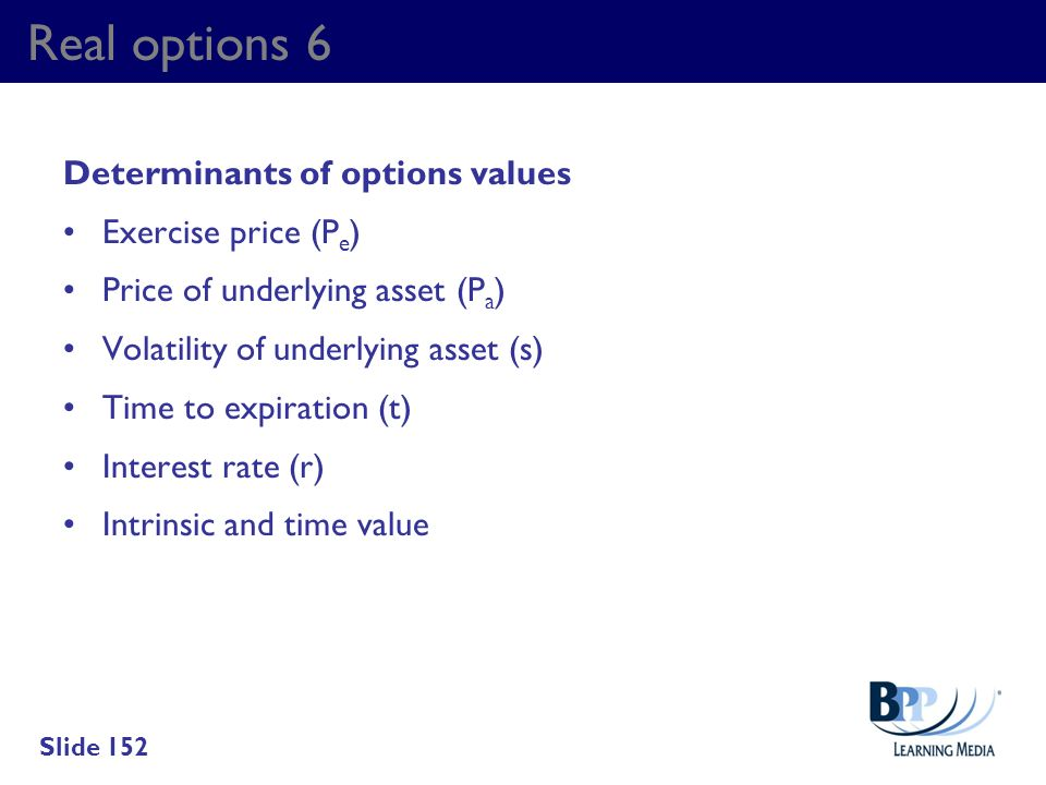 Real options 6 Determinants of options values Exercise price (Pe)