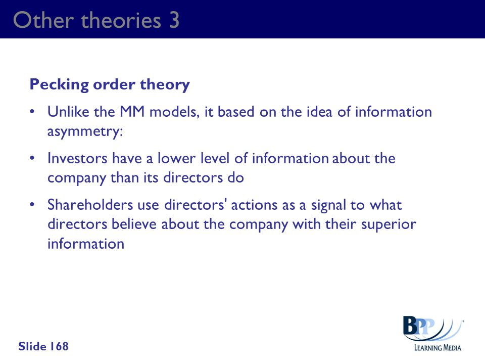 Other theories 3 Pecking order theory