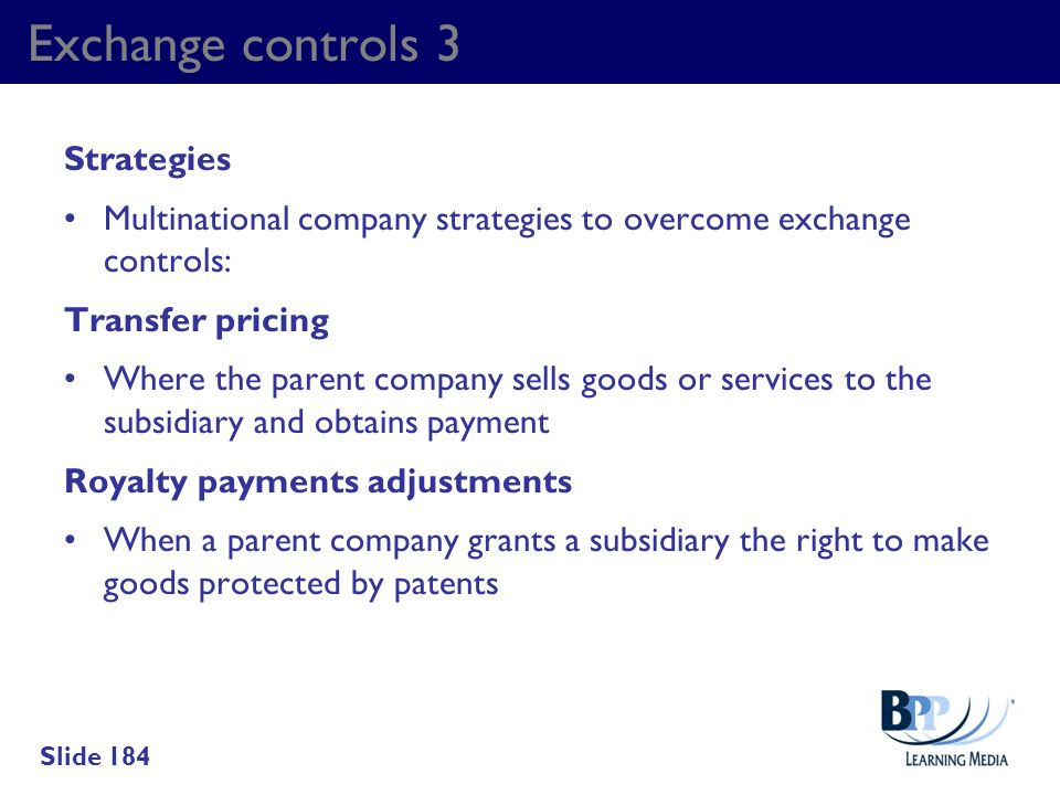 Exchange controls 3 Strategies